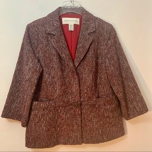 Doncaster Burgundy Tweed Lined Blazer With Pockets